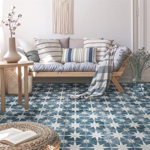 SomerTile 17.63 x 17.63-Inch Royals Estrella Sky Ceramic Mosaic Floor and Wall Tile (5 Tiles/11.02 sqft.)