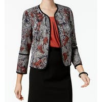 Kasper Orange Womens Jacquard Open-Front Jacket
