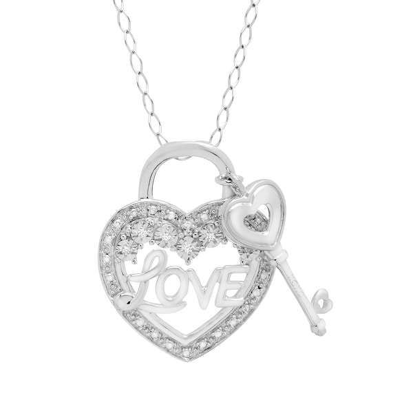 Heart & Key 'LOVE' Pendant with Diamonds in Sterling Silver