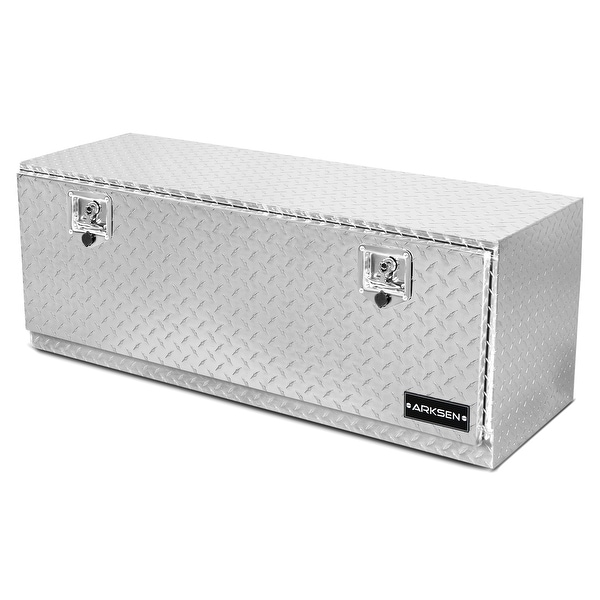 "ARKSEN 48"" Heavy Duty Truck RV Aluminum Diamond Plate Tool Box Underbody Trailer Storage With T-Handle Latch Key, Silver"
