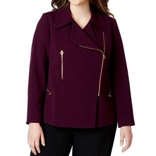 Calvin Klein NEW Purple Plum Women's 20W Plus Asymmetrical Zip Jacket