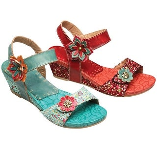 Women's Floral Sculpted Wedge Sandals - 3D Flower Accents