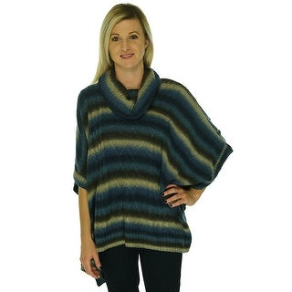 Cable & Gauge Cowl Neck Poncho Sweater - L
