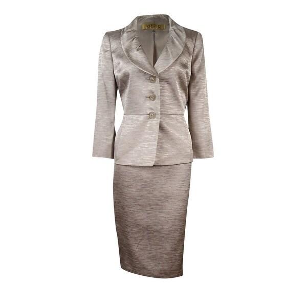 Kasper Women's Metallic Pleated Shawl Collar Skirt Suit - Champagne