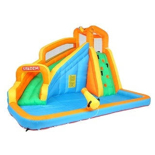 Link to Inflatable Water Slide Bounce House w/Climbing Wall, Water Gun, Splash Pool, Water Slide Castle Outdoor (Included Blower) Similar Items in Outdoor Play