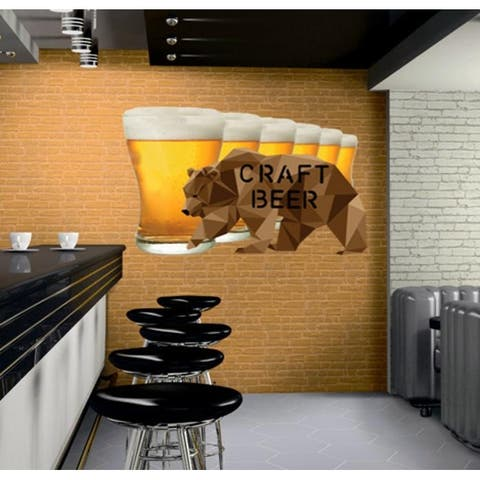 Craft Beer Polygonal Wall Decal, Brewery Decor