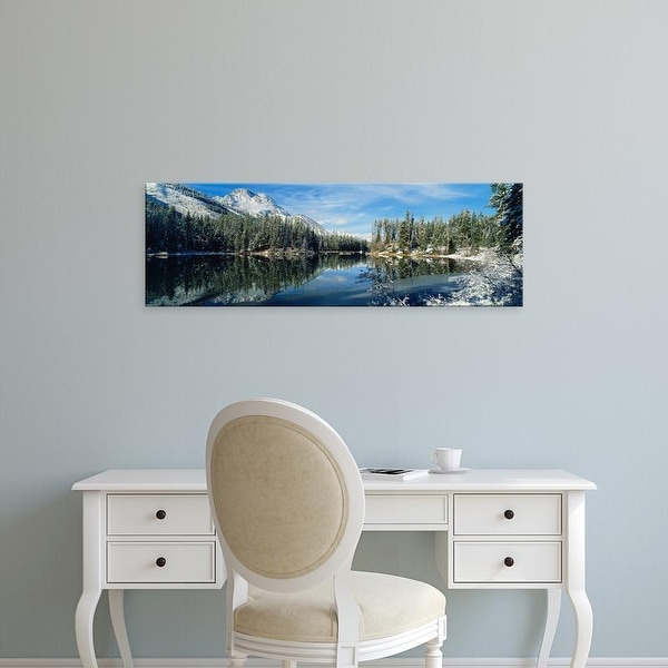 Easy Art Prints Panoramic Images's 'Reflection of trees in a lake, Yellowstone National Park, Wyoming, USA' Canvas Art