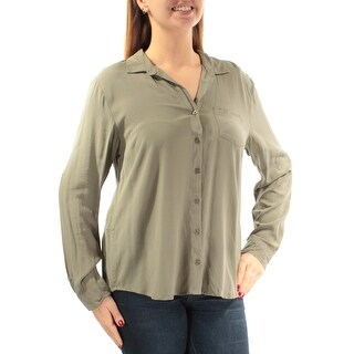 Womens Green Cuffed Collared Casual Button Up Top Size L