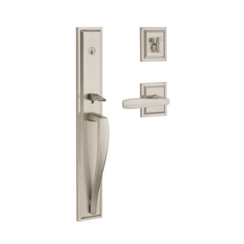 Baldwin 180TPEXTOL-SLB Torrey Pines Full Plate Keyed Entry Single Cylinder Door Handleset from the Prestige Collection