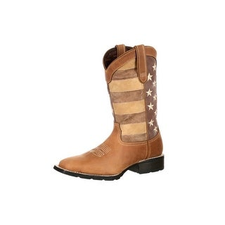 Durango Western Boots Mens Mustang Faded Glory USA Flag Brown