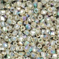 True2 Czech Fire Polished Glass, Faceted Round 2mm, 50 Pieces, Fine Silver Plated