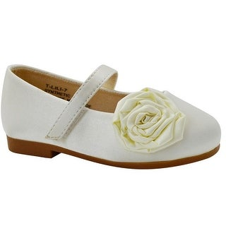 De Blossom Little Girls Ivory Flower Adorned Mary Jane Shoes