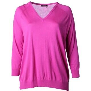 Ralph Lauren Womens Plus Pullover Sweater Pointelle V-neck