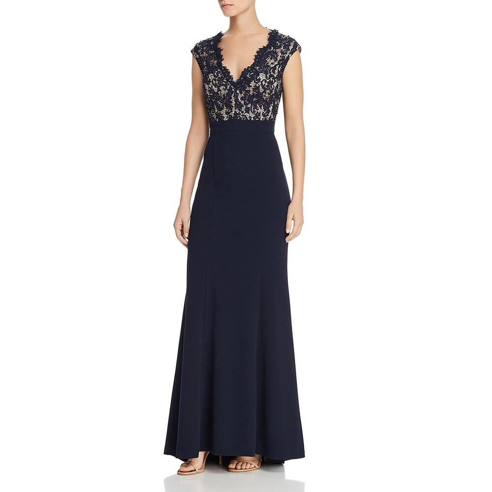 Eliza J Womens Evening Dress Beaded Lace Overlay - Navy
