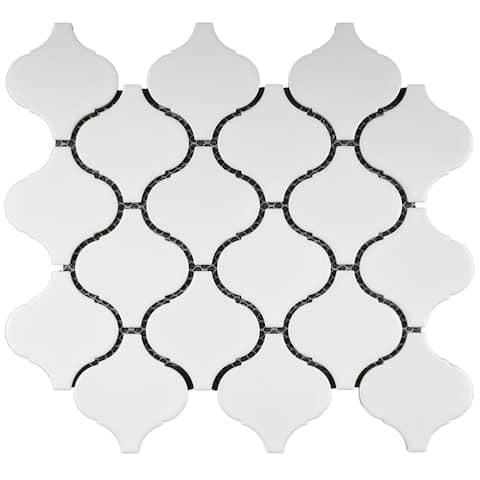 """TileGen. Lantern 3"""" x 3"""" Porcelain Mosaic Tile in White Floor and Wall Tile (11 sheets/8.03sqft.)"""