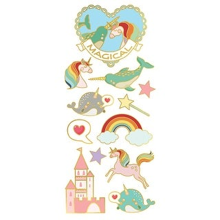 "Unicorns; Narwhals & Castles; 12/Pkg - Paper House Sticky Pix Faux Enamel Stickers 8""X3"""