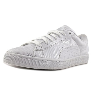 Puma Basket Classic Metallic Youth   Synthetic White Fashion Sneakers