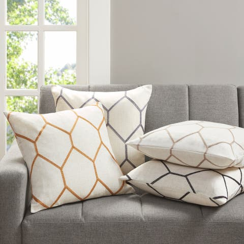 Madison Park Asher Metallic Geo Embroidered Pillow Pair