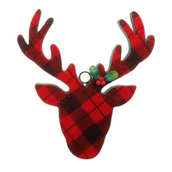 "10.5"" Country Cabin Flocked Black and Red Plaid Deer Head Christmas Ornament"