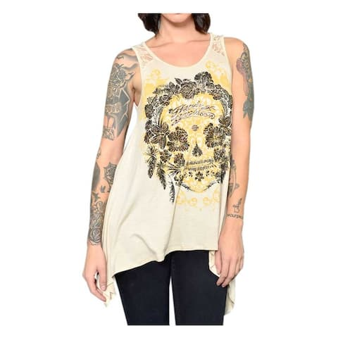 531374a8 Harley-Davidson Women's Floral Embellished Lace Back Sleeveless Tank Top