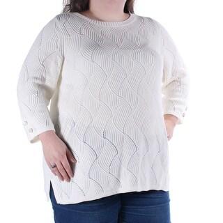 CHARTER CLUB Ivory Geometric Jewel Neck 3/4 Sleeve Sweater 2X B+B