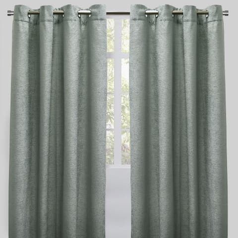 Rodeo Home Grommet Top Throne Chenille Curtain Panels (Set of 2)
