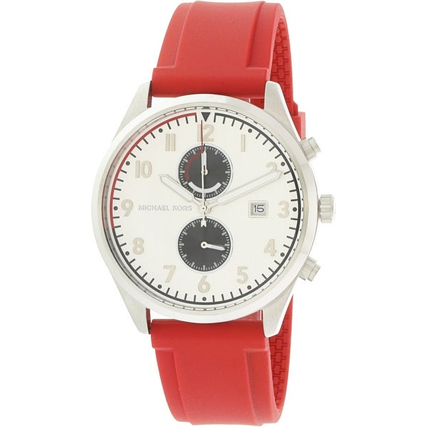 4c3cd5ad591b Shop Michael Kors Men s Saunder Silver Silicone Japanese Quartz Fashion  Watch - Free Shipping Today - Overstock.com - 18618523