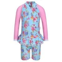 Sun Emporium Baby Girls Blue Pink Blossom Long Sleeved Swimsuit