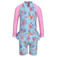 Sun Emporium Little Girls Blue Pink Blossom Long Sleeved Swimsuit