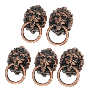Cabinet Drawer Door Metal Lion Head Shaped Pull Ring Handle Copper Tone 5pcs