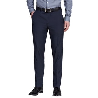 Theory Marlo Graysin Slim Fit Check Flat Front Dress Pants Eclipse Blue 36