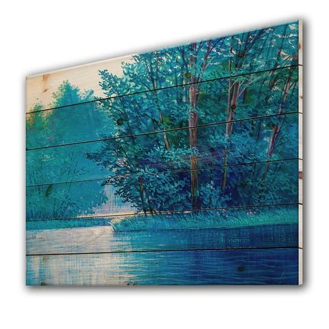 Designart 'Summer Forest With River And Waterfall' Farmhouse Print on Natural Pine Wood