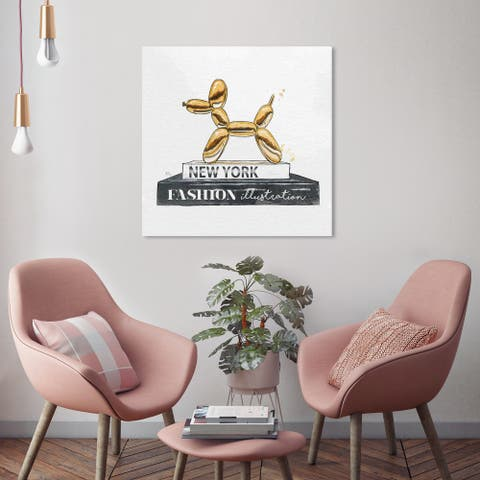 Oliver Gal 'Balloon Dog' Wall Art Canvas Print - Gold, White