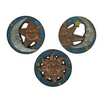 Blue Metallic 3 Piece Celestial Sun and Moon Cement Stepping Stone Set
