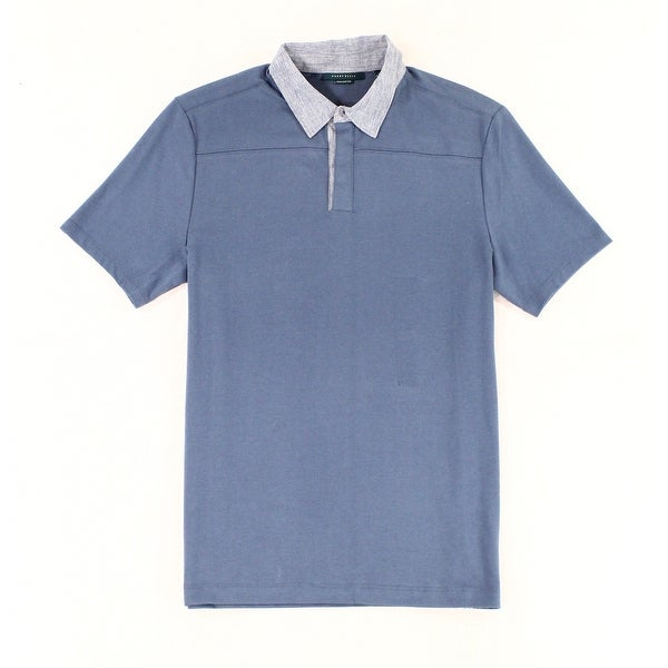 98890134d5 Perry Ellis NEW Blue Mens Small S Performance Stretch Polo Rugby Shirt.  Click to Zoom