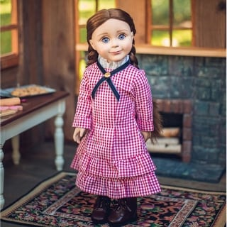 Authentic Laura & Mary Ingalls Blue Check Dress 18 Inch Doll Clothes Outfit Compatible with 18 Inch American Girl Dolls