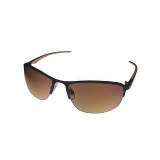 Perry Ellis Mens Sunglass PE14-3 Brown Metal Rimless Aviator, Gradient Lens - Medium