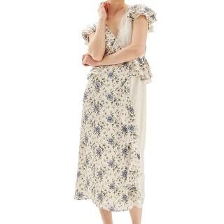 TopShop Beige Women's Size 8 Floral-Print Popover Maxi Dress
