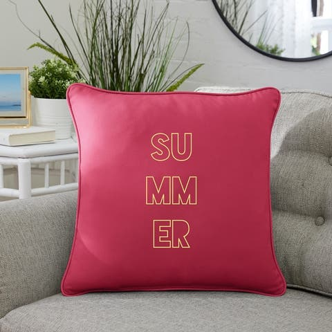 """Summer Indoor/Outdoor Embroidered Square Pillow, Knife Edge - 18"""" x 18"""""""