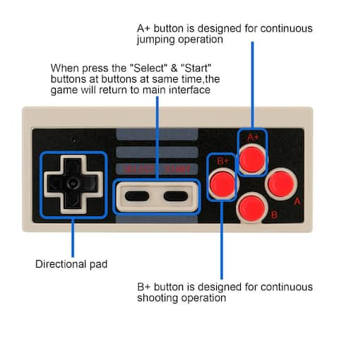 Mini Wireless Game Controller 2 pieces Grey Replacement for NES Classic Aftermarket - Black - M