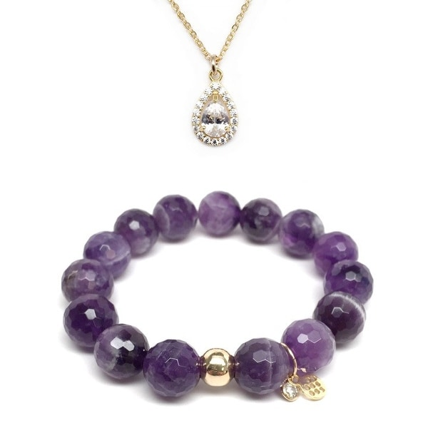 "Purple Amethyst 7"" Bracelet & CZ Teardrop Gold Charm Necklace Set"