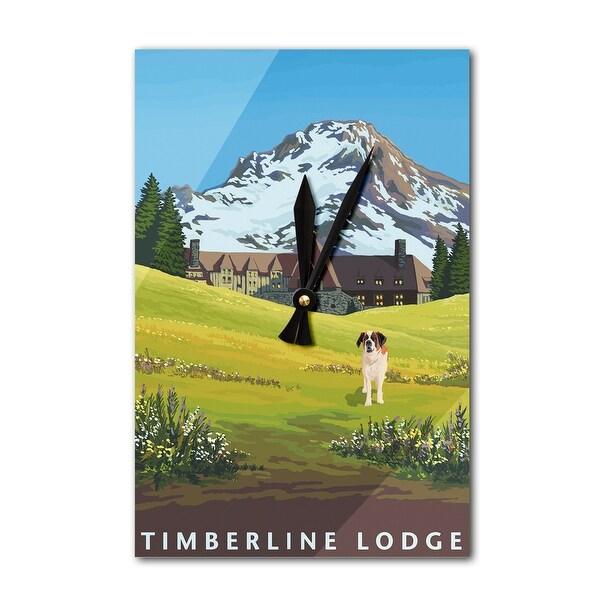 Timberline Lodge in Spring - LP Artwork (Acrylic Wall Clock) - acrylic wall clock