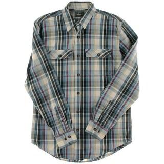 Bass Mens Cotton Plaid Button-Down Shirt - S