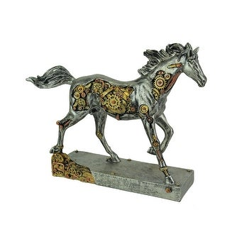 Steam Stallion Metallic Silver Running Steampunk Horse Statue - 8.75 X 11.25 X 3 inches