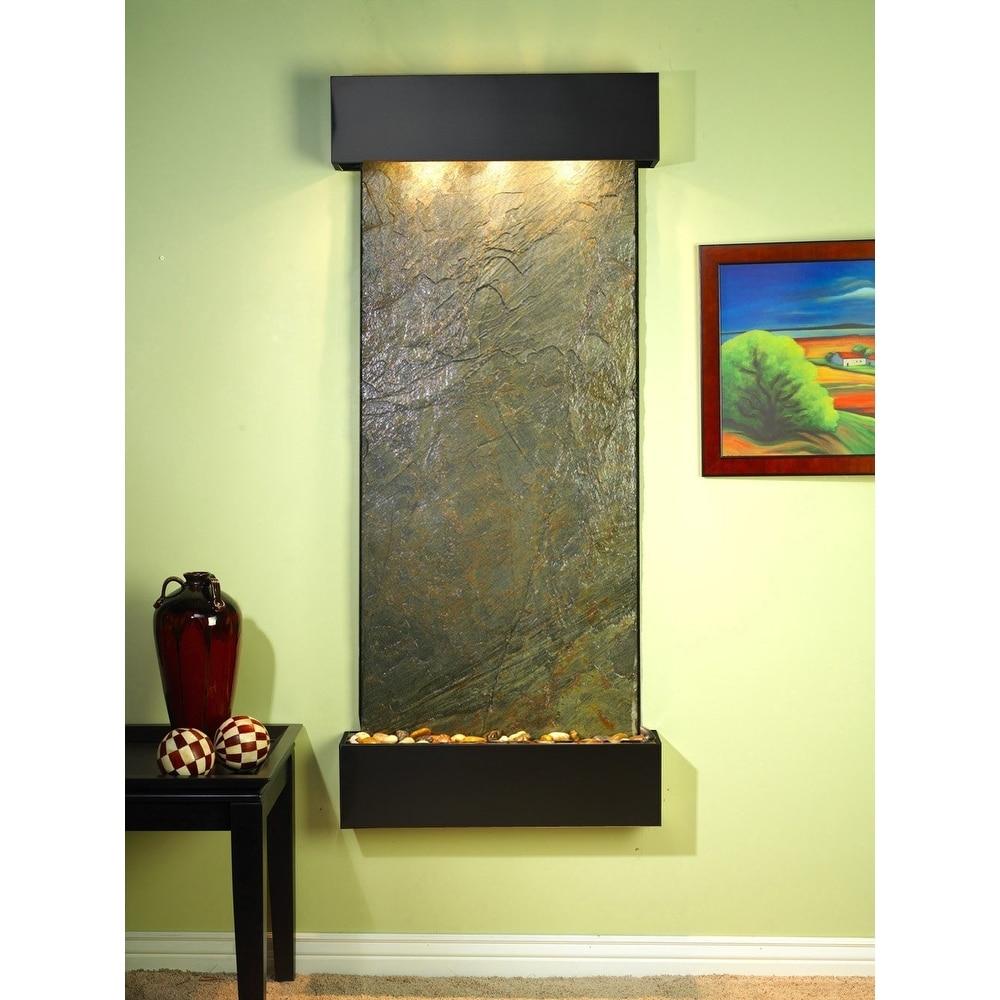 Adagio Inspiration Falls Fountain w/ Green Featherstone in Blackened Copper Fini - Thumbnail 0