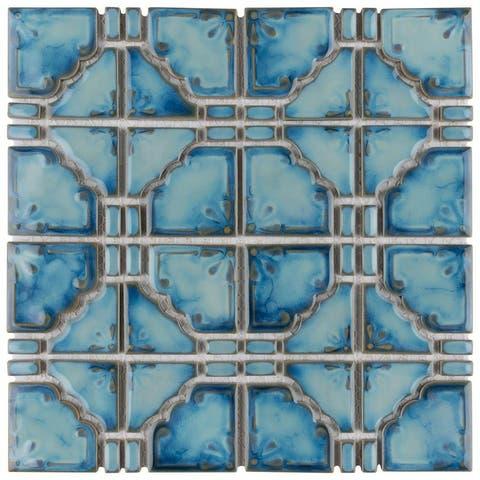 """SomerTile Moonbeam Diva Blue 11.75"""" x 11.75"""" Porcelain Mosaic Tile"""