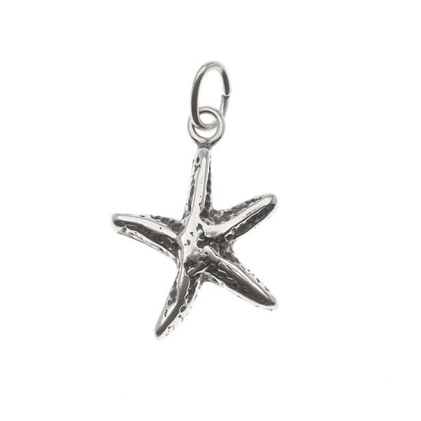 Sterling Silver Charm Starfish Ocean Star fish 16mm (1)