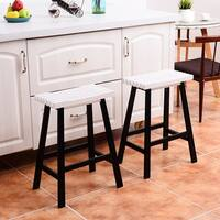 Costway Set of 2 Saddle Seat 24'' Bar Stools Wood Bistro Dining Kitchen Pub Chair White
