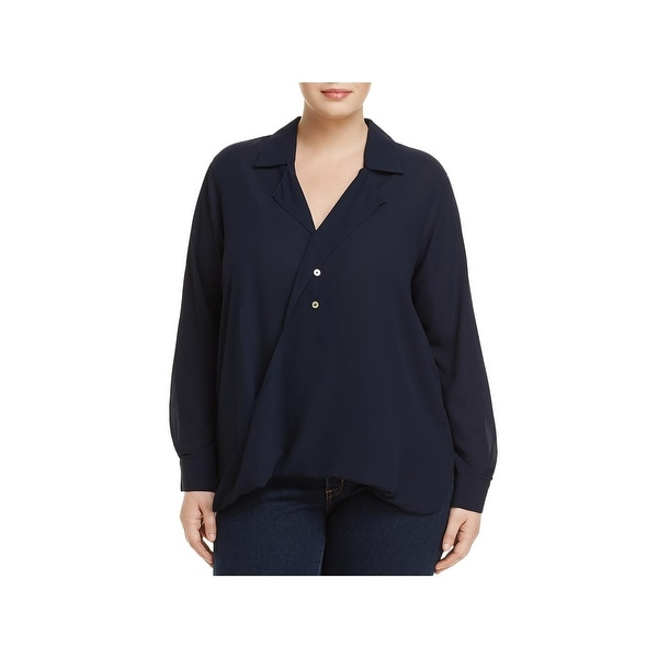 Foxcroft Womens Plus Blouse Crossover-Front Long Sleeve