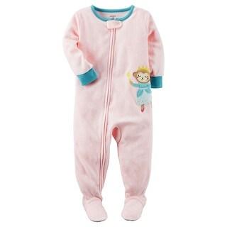 Carter's Baby Girls' 1-Piece Monkey Fleece Pajamas, 6 Months